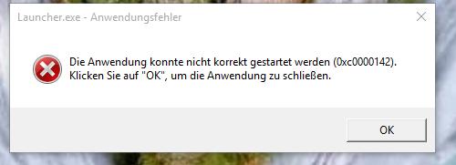 Launcher.exe  Anwendungsfehler