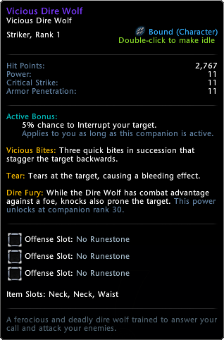 Vicious Dire Wolf Tooltip
