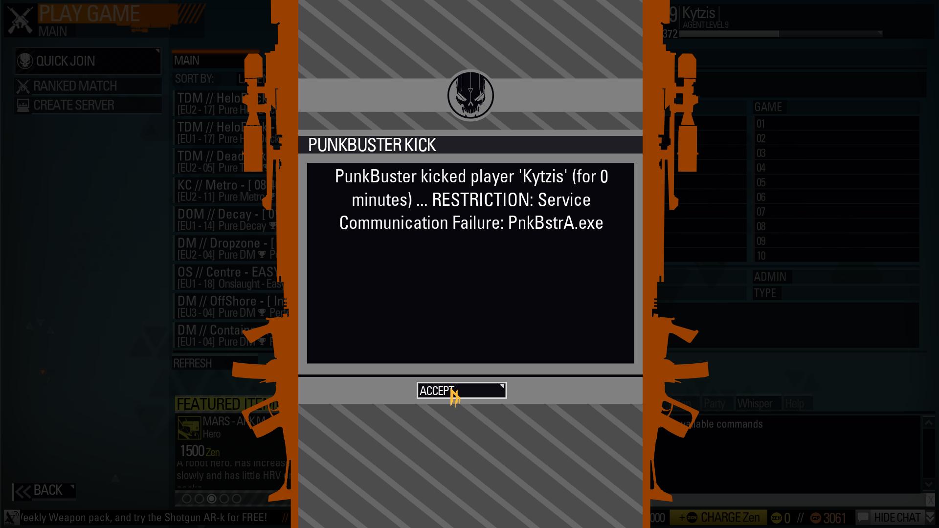 PunkBuster Error