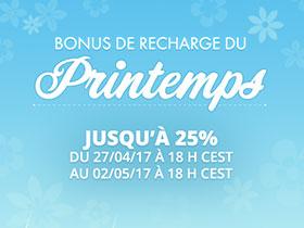 Jusqu'à 25% bonus sur vos recharges !