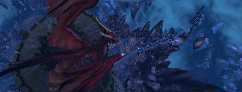Red dragon atop a tower in the Chasm area in Neverwinter