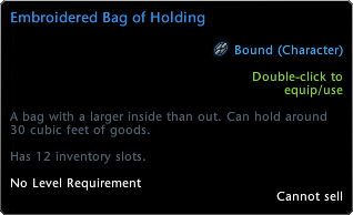 Bag of Holding Tooltip