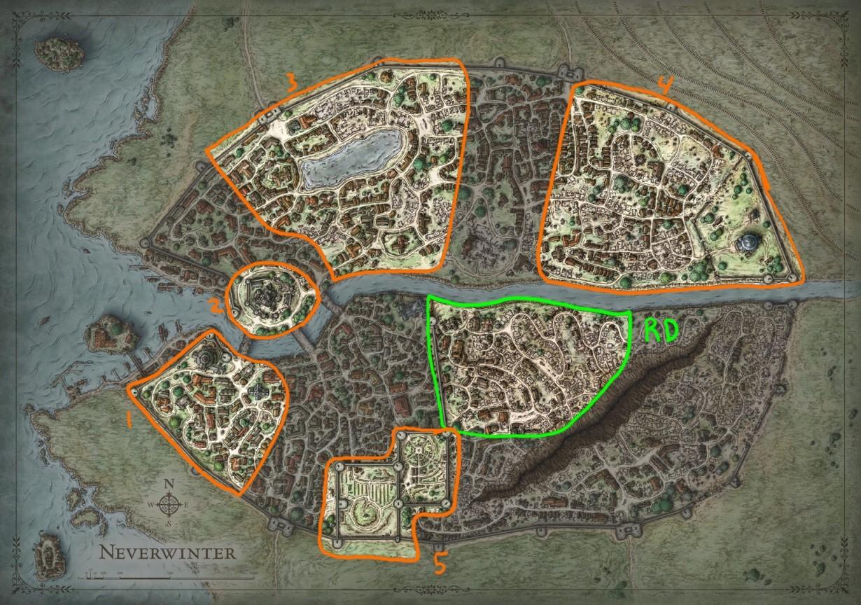 (RD – River District, 1- Protectors Enclave, 2 – Castle Never, 3 – Black Lake, 4 – Tower District, 5 – Neverwinter Graveyard)
