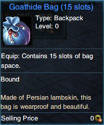 Carry more items in Swordsman with a Goathide Bag!