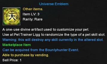 Universe Emblem, Combat Pet Upgrade, Pet Skill Item